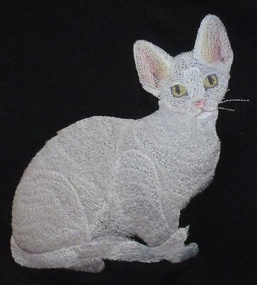 Embroidered Short-Sleeved T-Shirt - Devon Rex Cat C7919 Sizes S - XXL
