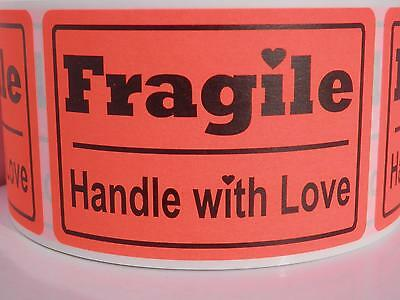 FRAGILE HANDLE WITH LOVE 2x3 fluorescent red Warning Stickers Labels 250/rl