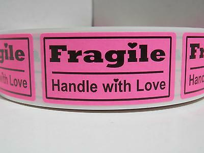 FRAGILE HANDLE WITH LOVE 1x2 fluorescent pink Warning Stickers Labels 500/rl