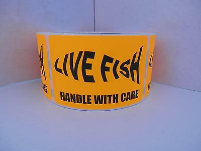 LIVE FISH silhouette HANDLE WITH CARE Sticker Label fluor orange bkgd 250/rl
