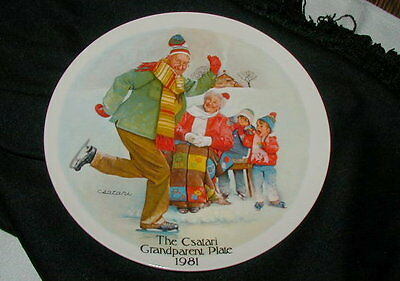 1981 Csatari Grandparents Collector Plate, Ice Skating, Edwin Knowles