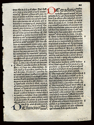 1492 Incunable Summa Angelica Civil & Canon Law 4 Hand-Painted Letters