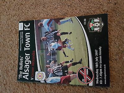 Football Programme 2007-8 Alsager Town V Crewe Alexandra Friendly