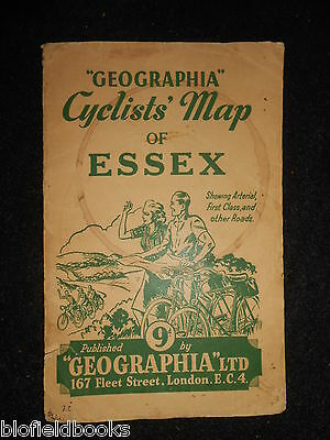 Geographia Cyclists' Map of Essex - c1920s Folding Paper Map - Roads/Geography