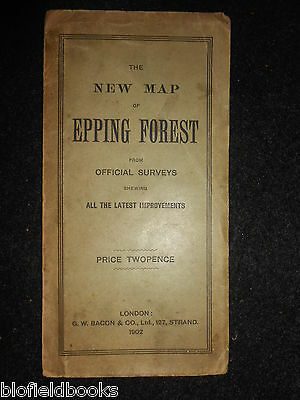 The New Map of Epping Forest - 1902 - G W Bacon - Folding Paper Map London/Essex
