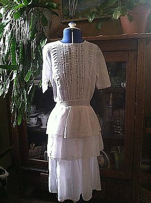 Vintage 1900's Turn of Century  Edwardian Girls Lace Cotton GOWN  DRESS chest 32