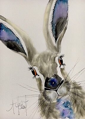 ORIGINAL Watercolour Painting of a Hare, by A.Jolivet - Present/Gift
