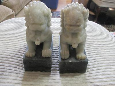 Vintage Pair Of Chinese Foo Dog Bookends Soapstone And Marble
