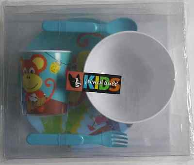 Fab French Bull Kids/toddler Dinner Set-Plate/bowl/cup/spoon+Fork (Monkey) *new*