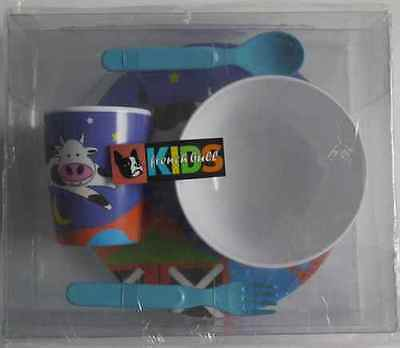 Fab French Bull Kids/toddler Dinner Set-Plate/bowl/cup/spoon+Fork (Cow+Moon) New