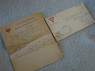 WWI 1918 YMCA American Expeditionary Forces Letter Home Soldiers Mail