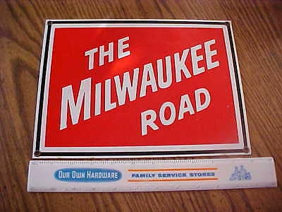 ANDE ROONEY'S repro PORCELAIN MILWAUKEE ROAD METAL SIGN railroad railway train