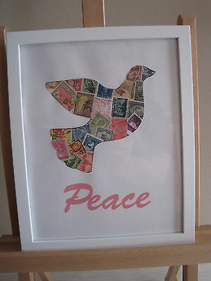 Framed Postage Stamp Picture Collage 8X10 - Peace Dove