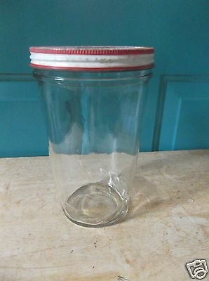 Vintage Clear Glass Pantry Storage Jar for Picnic, Dry Goods or Freezing w/Lid