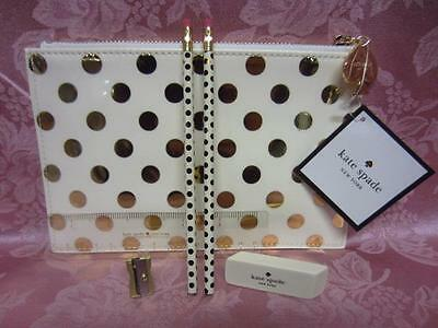 Kate Spade Patent Leatherette Pencil Pouch Set Ivory with Gold Dots NWT
