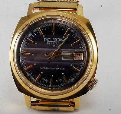 Vintage Remington Electra 17 Watch Gold Plated Wind Up New Old Stock Runs Nice