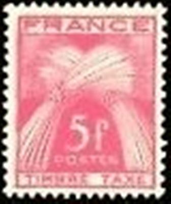 "FRANCE STAMP TIMBRE TAXE N° 85 "" TYPE GERBES 5F ROSE-LILAS "" NEUF x TB"