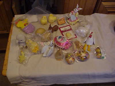 Easter rabbits, chicken, eggs,homco swan (some are vintage)1 inch to 3 1/2 inch