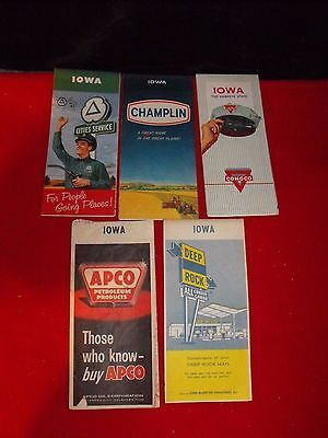 LOT of 5 VINTAGE IOWA ROAD MAPS GAS & OIL ADVERTISING