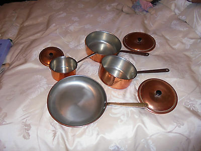 3 Vintage Copper Saucepans with Brass Handles With Lids Plus Frying Pan