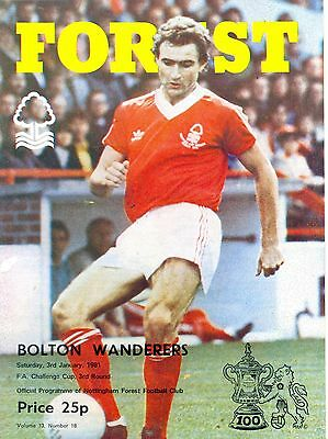 NOTTINGHAM FOREST v Bolton Wanderers FA Cup 3rd round 3 January 1981