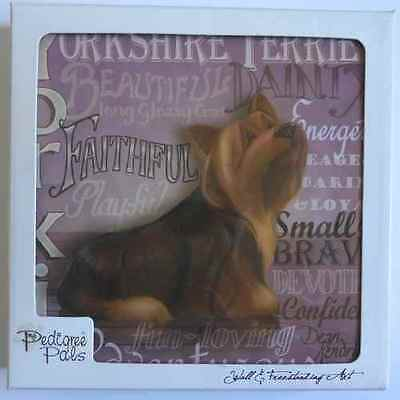 Lovely Pedigree Pals Yorkie Dog Wall & Freestanding Art Plaque Picture *new*