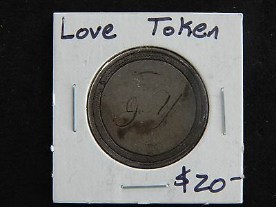 1877 Seated Liberty Quarter Love Token - 90% Silver