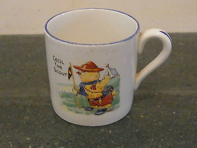 Vintage Child's Scout Ceramic Cup transfer printed 'Cecil the Scout' 1950s/60s