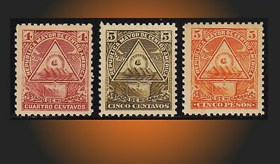 1898 Nicaragua Coat Of Arms Republic Central America Lot Scott 101,102,109