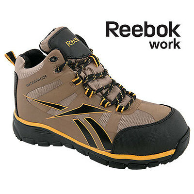 Reebok Men's Work Composite Toe Waterproof Brown/Gold Hiking Boots - Size 9
