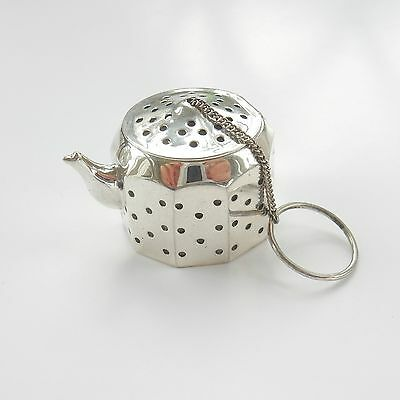 Sterling Silver Victorian Tea Strainer in Shape of Tea Pot Hallmarked