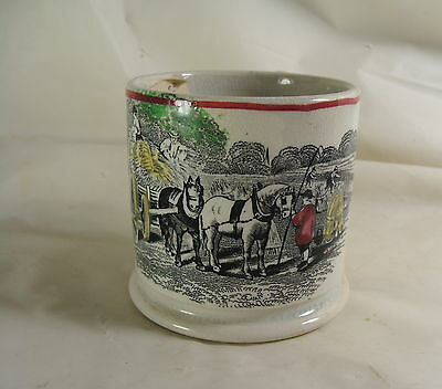 Antique Staffordshire Nursery Rhyme Mug Hay Harvest Cup