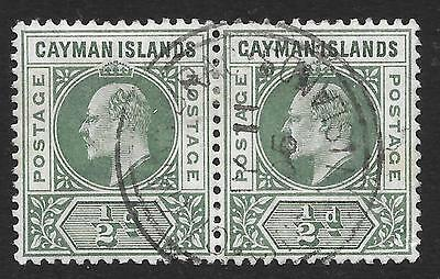 Cayman Islands 1902 ½d Green SG 3 Fine Used Pair