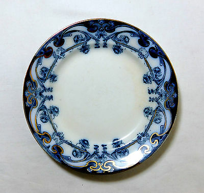 "Antique 1907 Royal Staffordshire FLOW BLUE 6 3/4"" PLATE ~ Iris Pattern ~ England"