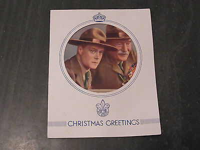 Vintage Scouts Christmas Card with Pictures of Edward VIII and Baden Powell