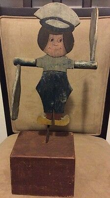Antique American Folk Art Primitive Whirligig Wood Carving