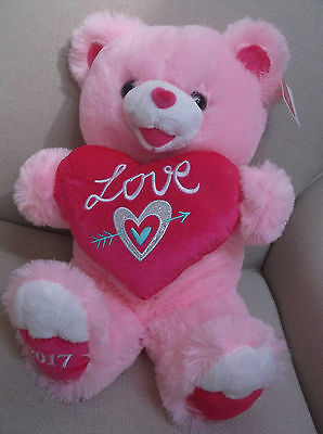 "Sweetheart Teddy Bear Pink Plush Holds Heart Pillow Says ""love"" 18 In"
