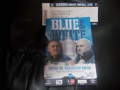 Blackburn Rovers V Manchester United F A Cup Programme And Ticket Stub 2016/17