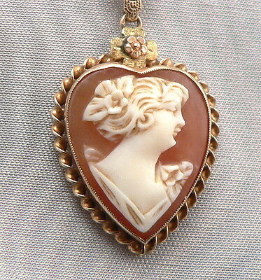 Vintage 10K Yellow GOLD HEART Shaped SHELL CAMEO Pendant CHAIN Necklace ESEMCO