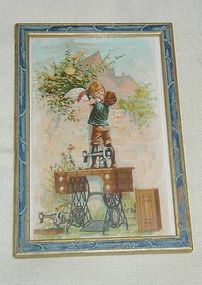 Old Framed Victorian Trade Card, Singer Sewing Machines, Boy & Girl Kissing