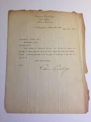 President Calvin Coolidge 1913 Typed Letter Signed - Massachusetts State Senator