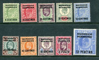BRITISH MOROCCO 1907 KEVII MH to 12p on 10s 10 Stamps cat £140