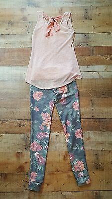 Maurices outfit lot pink floral Joe Boxer leggings womens small xs