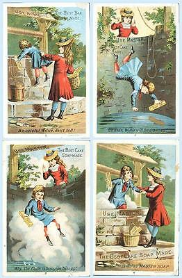 Victorian Trade Card Series of 4 Boy & Girl Master Cake Soap Addison New York