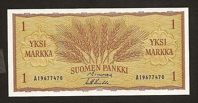 FINLAND 1 markka 1963 98a UNC wheat ears