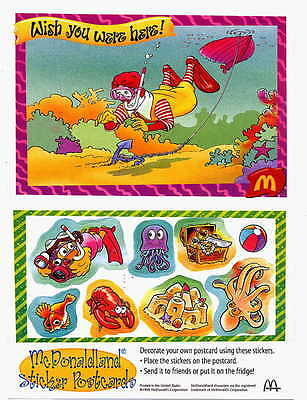 McDonaldland Sticker Postcard, Wish You Were Here, 1975
