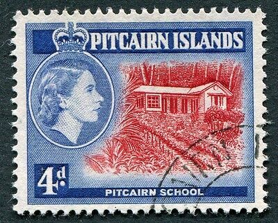 PITCAIRN ISLANDS 1957-63 4d SG23 used NG TYPE I Pitcairn School #W12