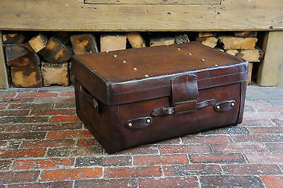 Solid Leather Edwardian Trunk Portamnteau Suitcase
