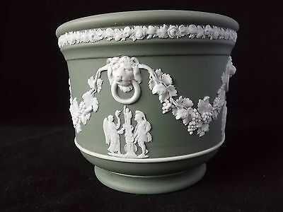 Rare Early Wedgwood Sage Green Dip Cachepot Dated C1900