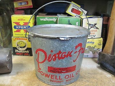 Rare Piston Free Grease Powell Oil Co Marshall Minnesota Gas Can Tin Station